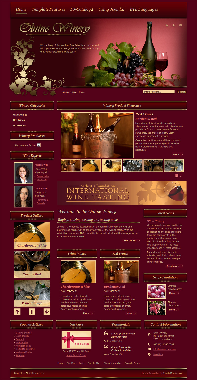 DJ-Winery Joomla Template