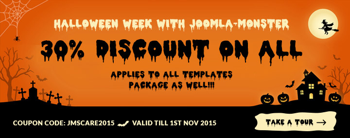 Take what you want 30% OFF - it's Halloween week with Joomla-Monster!