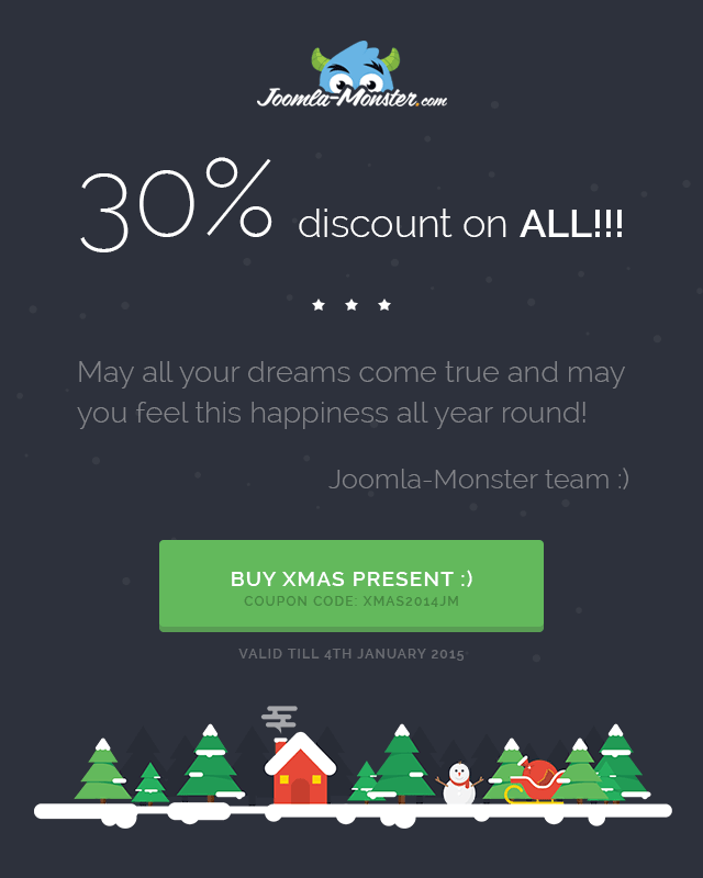 Xmas discount on ALL! Buy our templates with 30% coupon code.