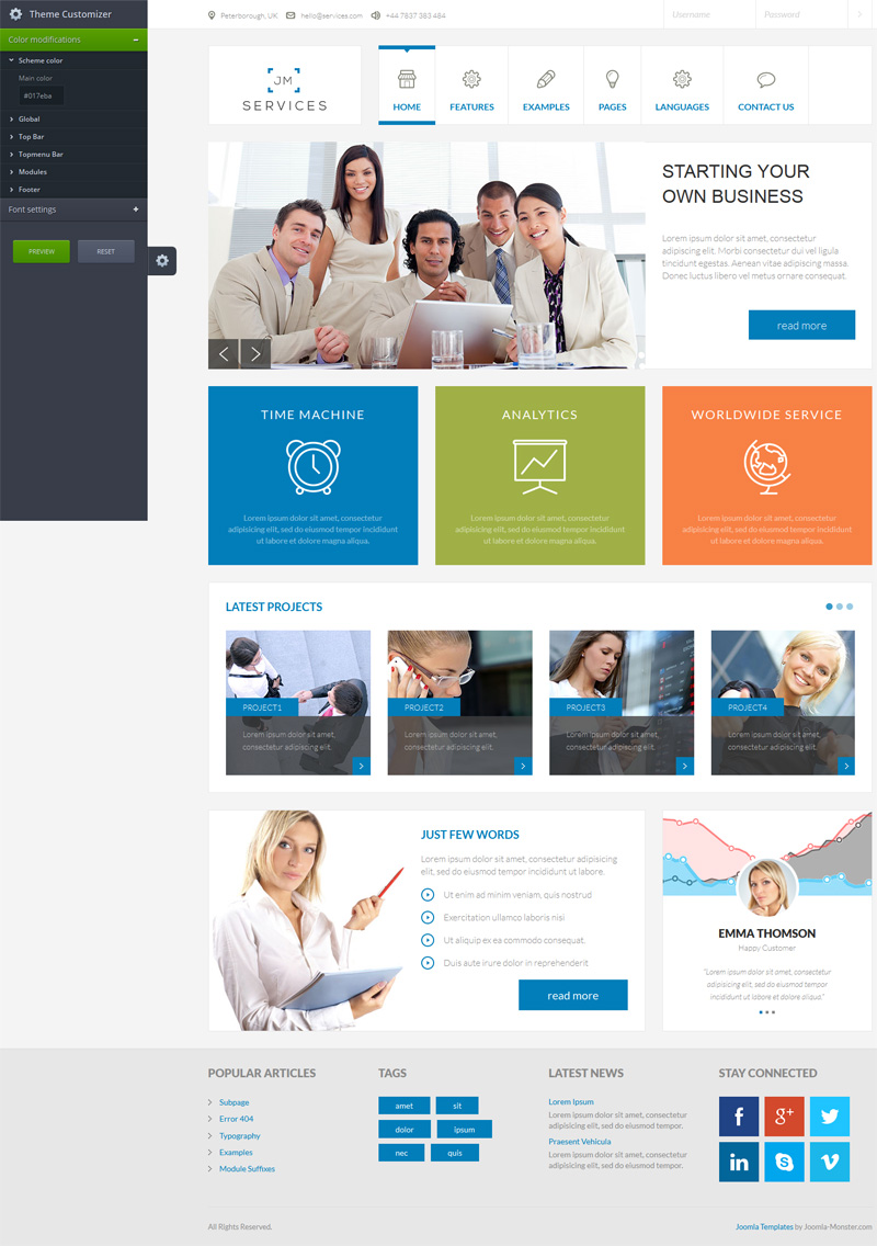 theme customize Joomla