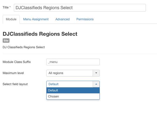 select default field layout