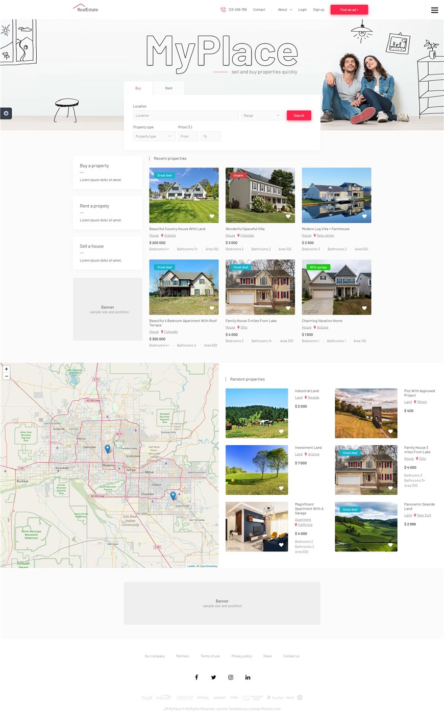 MyPlace - new real estate classifieds Joomla template